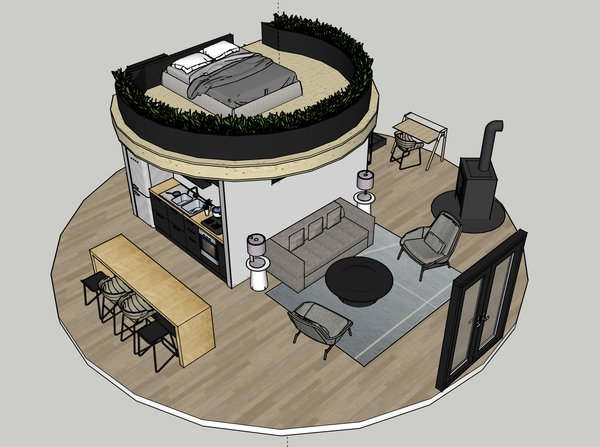 zach used this 3d model designed in sketchup to explore the layout and style of the interior